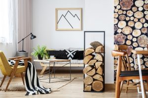 Cozy winter interior design with wood chairs