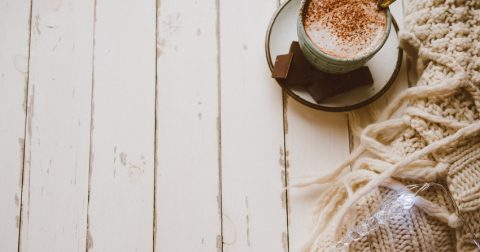 Cocoa with lights and gift, Cozy winter home warm background