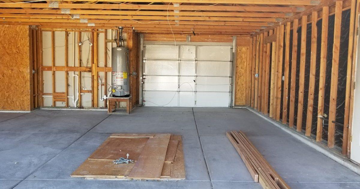 interior garage demolition after